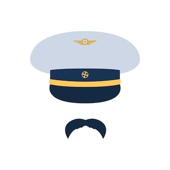 파일럿 에비에이터 파일럿 모자와 콧수염
