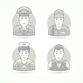 Pilot, delivery man, shipboy, waiter icons. character, avatar and person illustrations.  black and white outlined style.