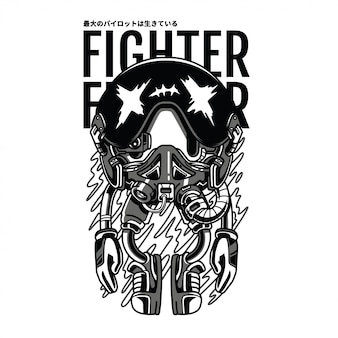 Pilot fighter black and white illustration