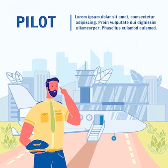 Pilot flat vector poster template with text space