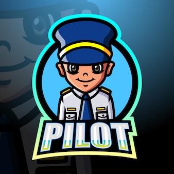 Pilot mascot esport logo design