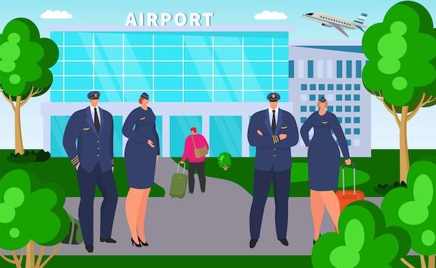 空港近くのパイロット、ベクトルイラスト。航空チームのサービス、制服を着たプロのフラットな男性女性キャラクターが航空会社のフライトを待ちます。飛行機のキャプテン、建物の近くのスチュワーデス。