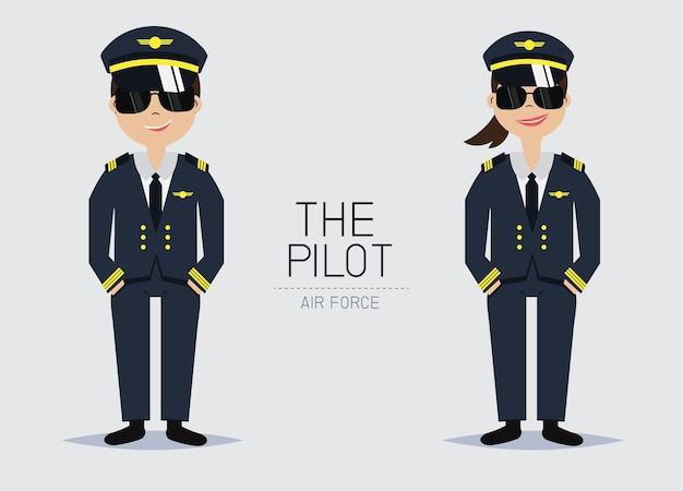 Pilot officer uniform cartoon character.