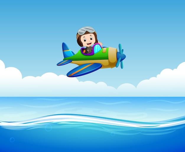 Пилот верховая езда над морем