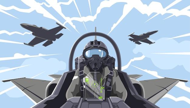 パイロットは戦闘機にいます。航空機戦闘機のコックピットの概要。空中の曲技飛行チーム。雲の中の軍の戦闘機。より高いピラタージュの図。軍用機のパイロット。
