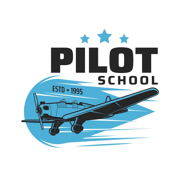 Pilot school icon, vintage plane flying in sky