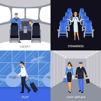 Pilot and stewardess 4 flat icons