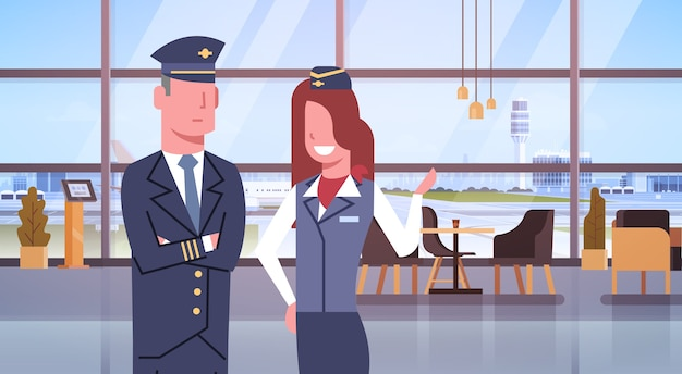 Pilot and stewardess in airport