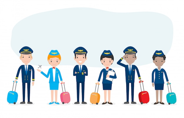 Pilot and stewardess. set of officers and flight attendants stewardesses  isolated on white , pilot and air hostess  illustration.