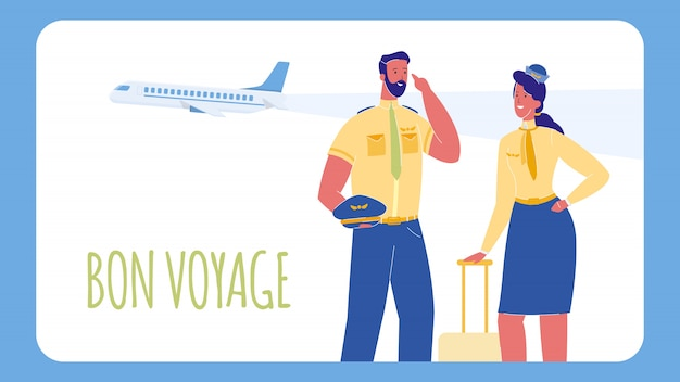 Pilot and stewardess web banner with text