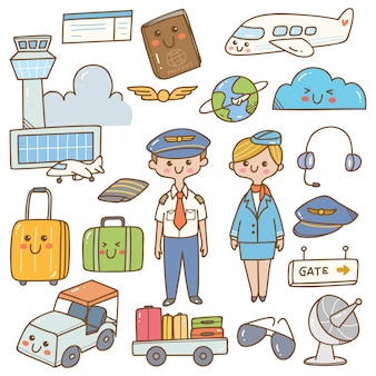 Pilot and stewardess with equipments kawaii doodle