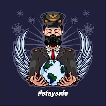 パイロットが身に着けているマスクと人間の戦いをサポートするために世界を開催してコロナウイルスを再び