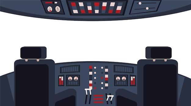 ダッシュボード、アプライアンス、椅子のイラストが付いたインテリア内部のパイロットのコックピット。窓付き機器内の飛行機のキャビン。航空機輸送。
