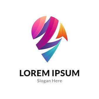 Концепция логотипа булавки и стрелки с лентой в 3d стиле