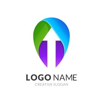 Логотип в виде булавки и стрелки, современный стиль логотипа в ярких градиентных тонах
