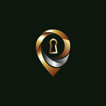 ピンと鍵穴のロゴ