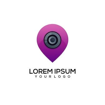 Pin camera logo illustration Premium Vector