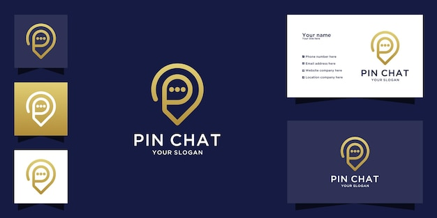 Pin chat logo with line art style and business card
