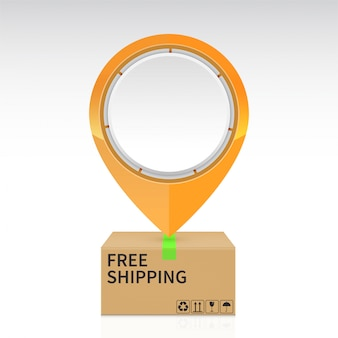 Pin drop on the free shipping parcel box
