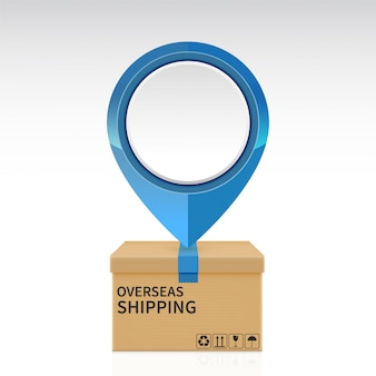 Pin drop on the overseas shipping parcel box