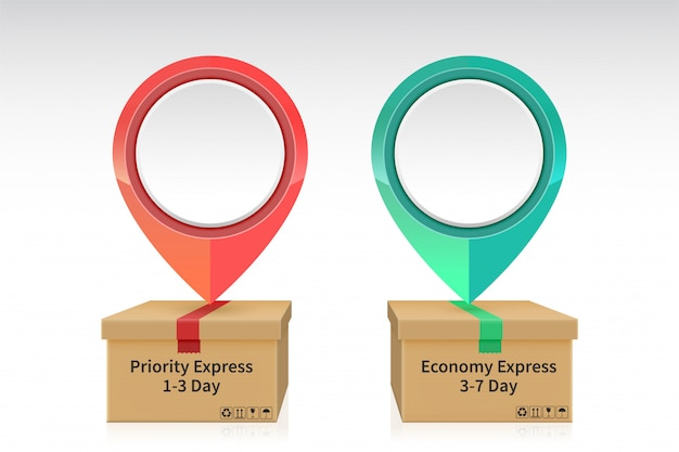 Pin drop on the priority and economy express shipping parcel box