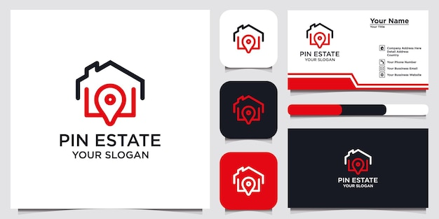 Pin estate logo design template and business card