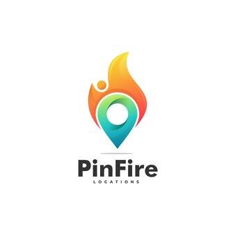 ピンファイアグラデーションカラフルなスタイルのロゴ