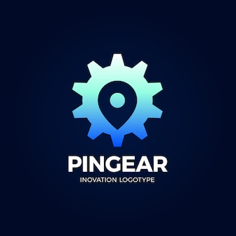 Pin gear логотип навигатор простой значок символа.