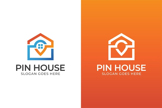 Pin house or home location logo design two versions