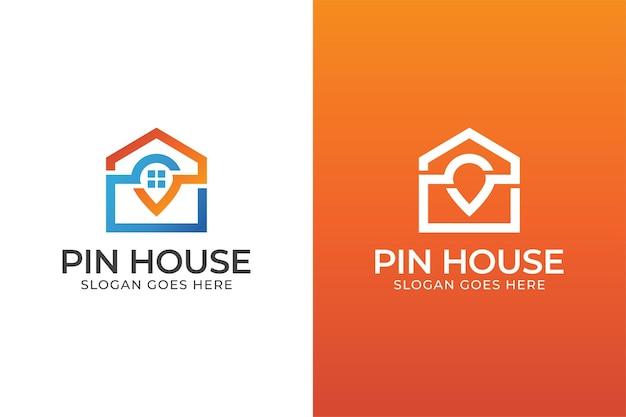 Пин-хаус или дизайн логотипа домашнего местоположения в двух версиях
