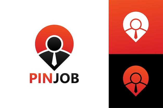Pin job logo template premium vector