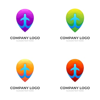 Pin location and airplane logo template with 3d colorful style