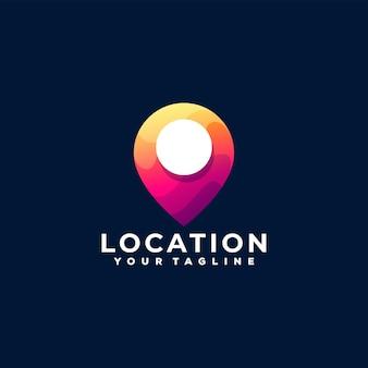 Дизайн логотипа градиента местоположения булавки