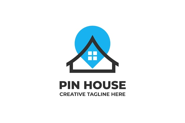 Pin location house business logo