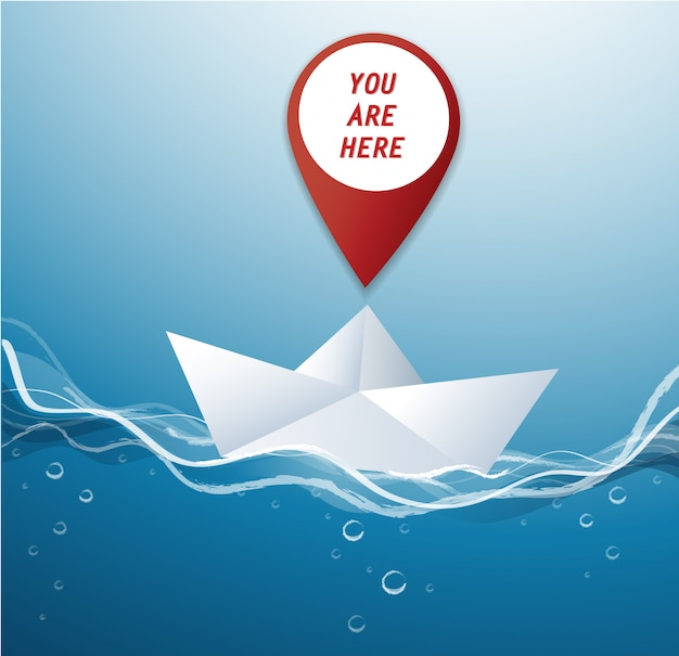 Pin location icon on paper boat vector