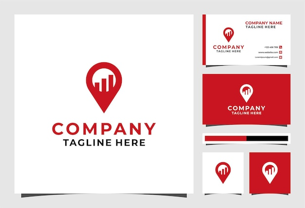 Pin location investment logo and business card