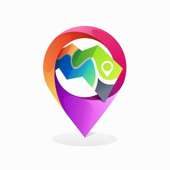 Pin location logo with map concept