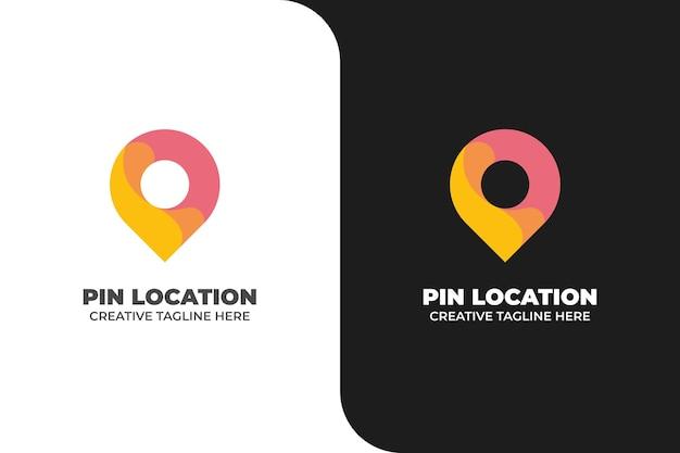 Pin location navigation gradient logo
