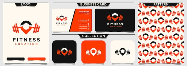 Pin location with barbell logo design for gym and fitness