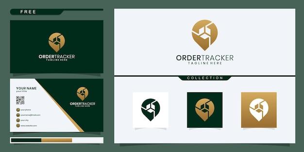 배송 추적기, 추적, 주문 추적 개념 그림 평면 디자인 아이콘 상자가 있는 핀 위치