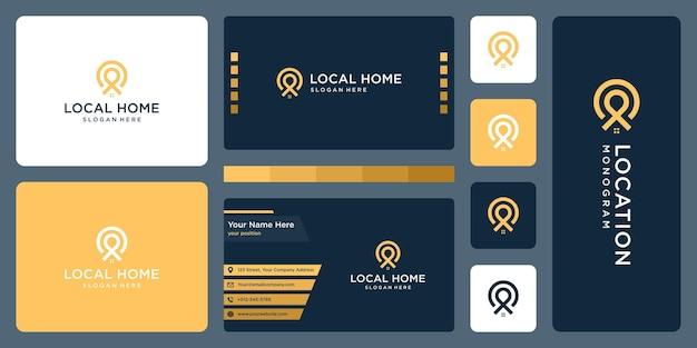 ピンのロゴ、場所、家のロゴ。名刺デザイン。