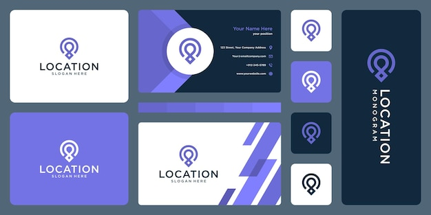 Pin logo, location and business card design template.