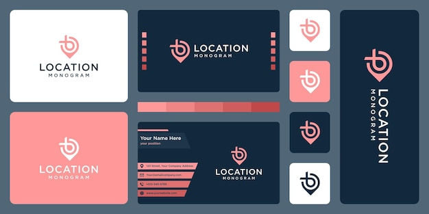 Pin logo, location and initial letter b. business card design.