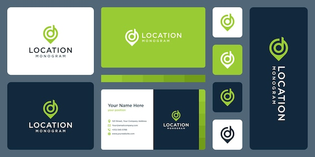Pin logo, location, and initial letter d. business card design.