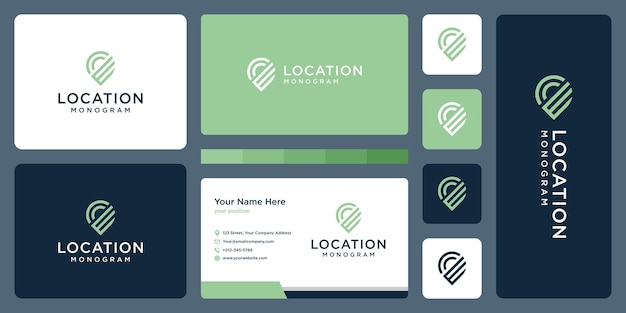 Pin logo, location and initial letter e. business card design.