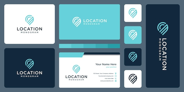 Pin logo, location and initial letter m. business card design.