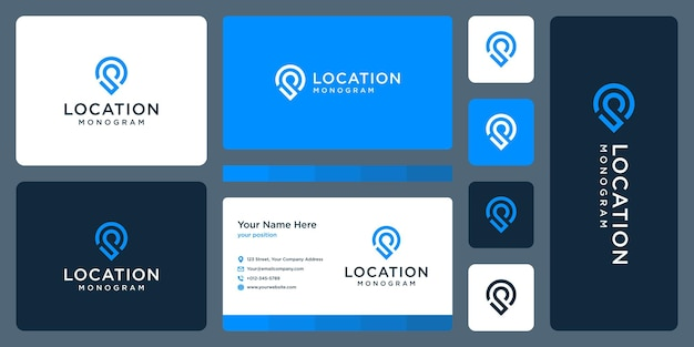 Pin logo, location and initial letter p. business card design.
