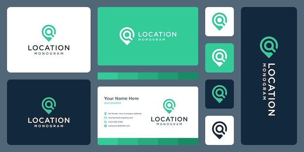 Pin logo, location and initial letter q. business card design.