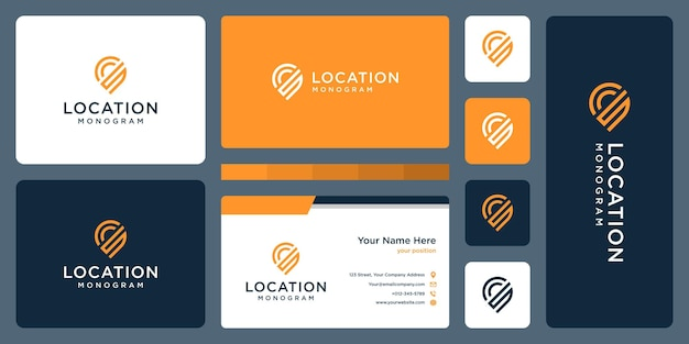Pin logo, location and initial letter s. business card design.