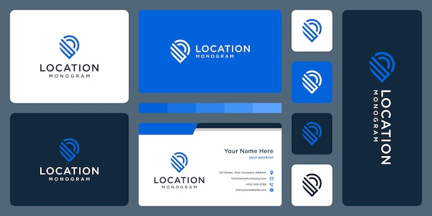 Pin logo, location and initial letter w. business card design.